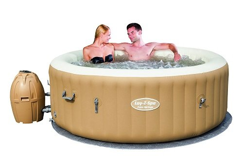 Couple in SaluSpa Palm Springs AirJet Inflatable 6-Person Hot Tub
