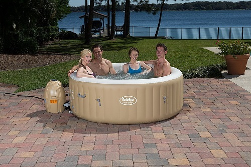 Group of People in SaluSpa Palm Springs AirJet Inflatable 6-Person Hot Tub