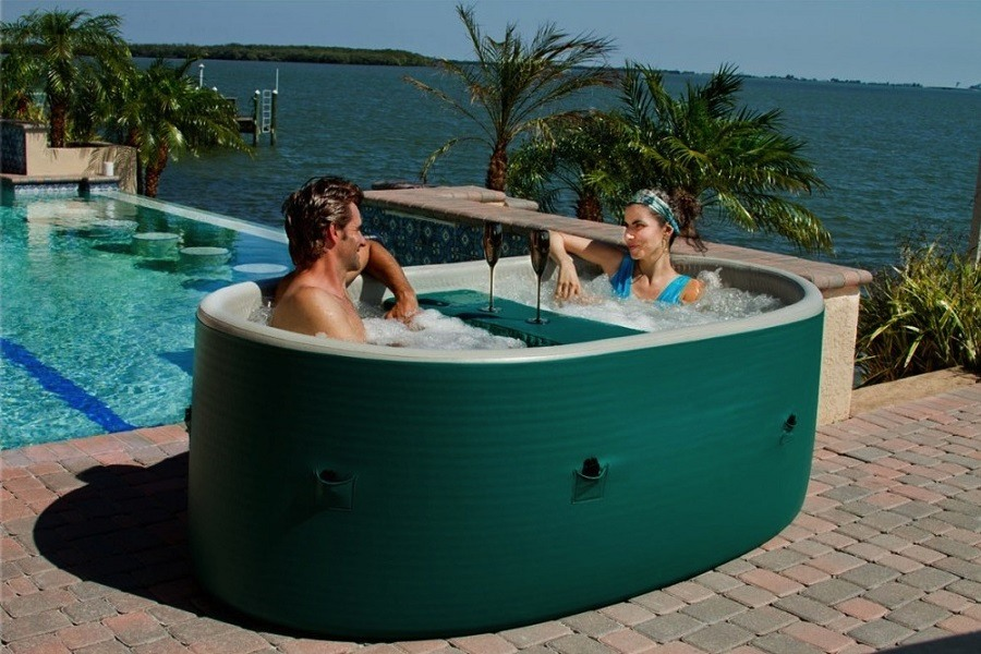 Couple Enjoying in an Inflatable Spa