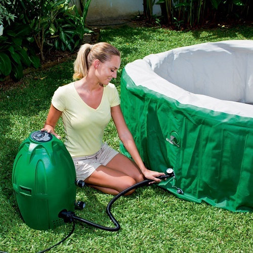 Woman Inflating Coleman Lay Z Spa Inflatable Hot Tub
