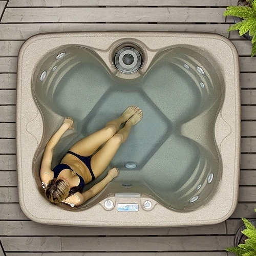 Top Down View Into Lifesmart Rock Solid Simplicity Plug and Play 4 Person Spa With Woman Inside