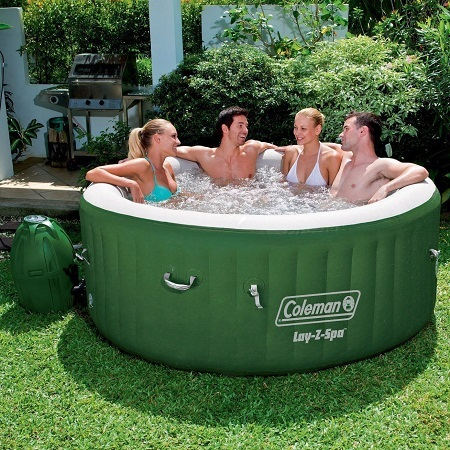 Coleman Lay Z Spa Inflatable Hot Tub WIth People Outside